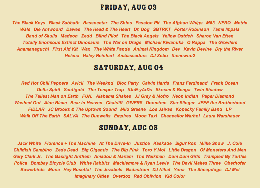lollapalooza 2012 daily line up (via lollapalooza.com)