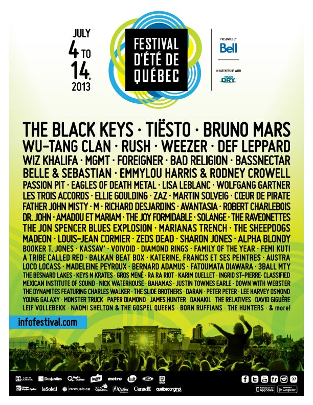 Quebec City 2013 line up